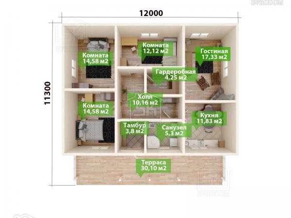 Проект дома из СИП панелей Керро план первого этажа