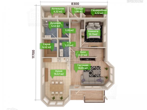 Дом из СИП панелей по проекту Ропша план первого этажа