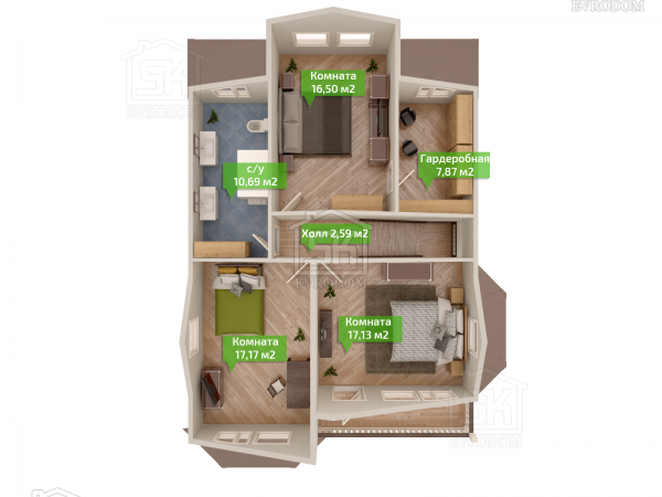Дом из СИП панелей по проекту Ропша план второго этажа