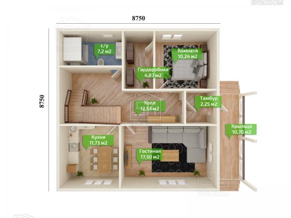 Дом из СИП панелей по проекту Сиена план первого этажа