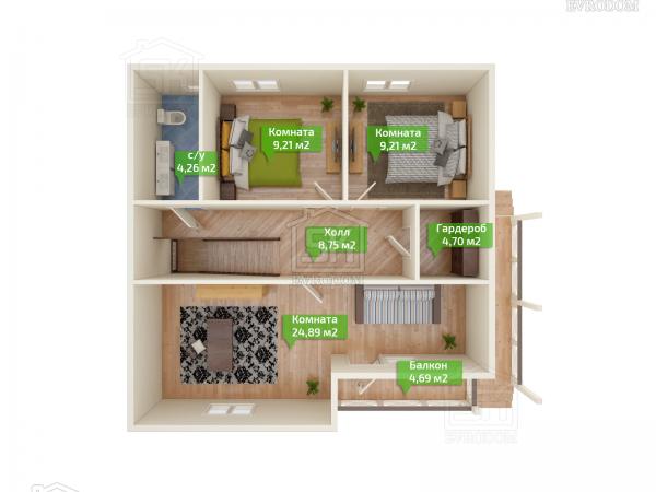 Дом из СИП панелей по проекту Сиена план второго этажа