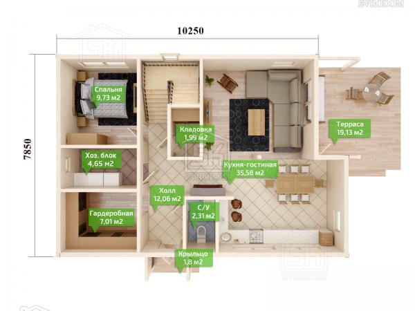 Дом из СИП панелей по проекту Таллин план первого этажа