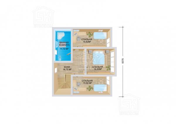 Дом из СИП панелей по проекту Венге план второго этажа