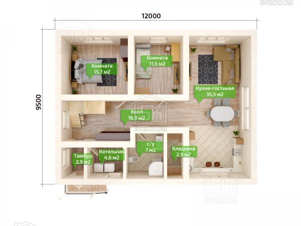 Дом из СИП панелей по проекту Вилючинск - план первого этажа