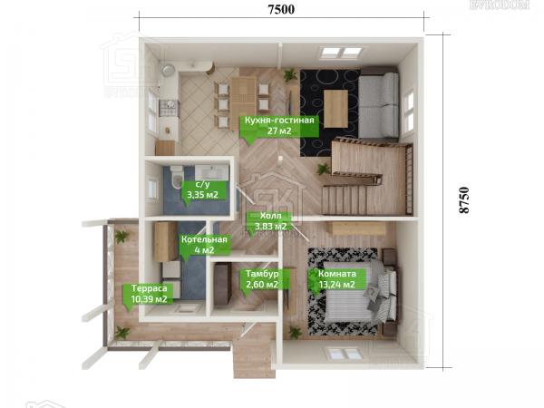 Дом из СИП панелей по проекту Волхов - план первого этажа