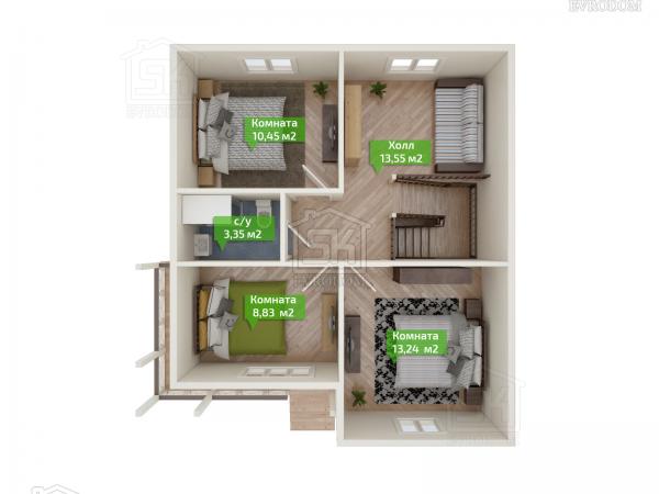 Дом из СИП панелей по проекту Волхов - план второго этажа