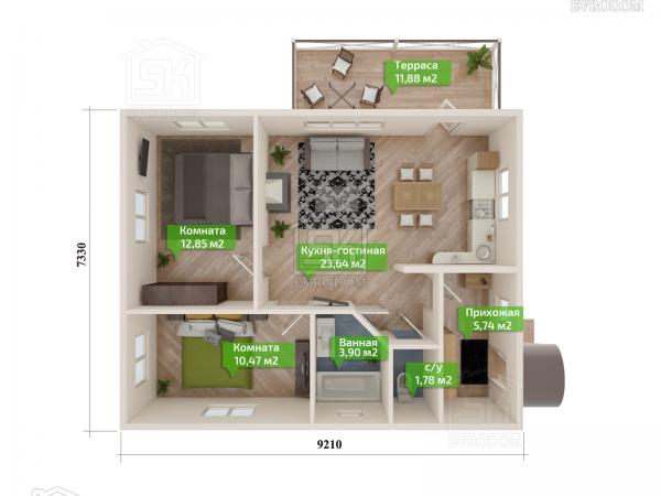 Дом из СИП панелей по проекту Выборг - план первого этажа