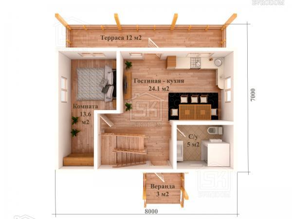 Дом из СИП панелей по проекту Залив план первого этажа