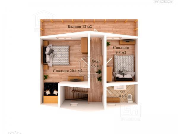Дом из СИП панелей по проекту Залив план второго этажа