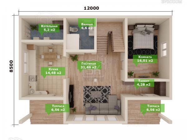 Проект дома из СИП панелей Зелёная Роща план первого этажа